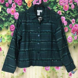 Coldwater Creek Green Reversible Shirt NWT Size PL